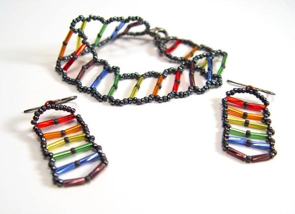Pride Flag Bugle Bead Bracelet And Earrings Set
