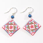 Pink Quilted Flower Earrings