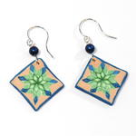 Green Star Quilted Earrings
