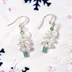 White/Green Swarovski Crystal Christmas Tree Earrings