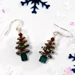 Burgandy Swarovski Crystal Christmas Tree Earrings