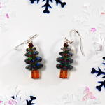 Dark Green Swarovski Crystal Christmas Tree Earrings