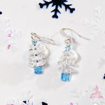 Snow Blue Swarovski Crystal Christmas Tree Earrings