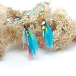 Turquoise/Red Fly Fishing Earrings