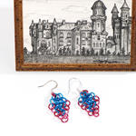 Blue/Pink Chain Mail Earrings