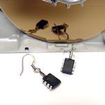 Black PIC Cyber Bug Earrings