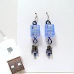 Blue Connector Earrings w/Resistors