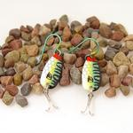Green Daredevle Fishing Lure Earrings