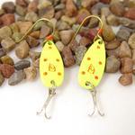 Yellow Daredevle Fishing Lure Earrings
