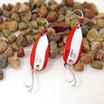 Red/White Daredevle Fishing Lure Earrings