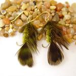Green Feather Fly Fishing Earrings