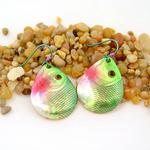 Green/Pink Spinner Fishing Lure Earrings