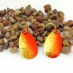 Red/Gold Spinner Fishing Lure Earrings