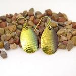 Green/Gold Spinner Fishing Lure Earrings