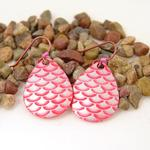 Pink Fish Scale Lure Earrings