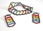 Pride Flag Bugle Bead Bracelet and Earrings Set