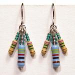 Multi Resistor Earrings w/Green Beads
