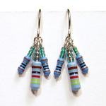 Blue Resistors Earrings w/Green Beads