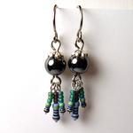 Hematite Earrings w/ Blue Resistors