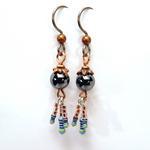 Hematite Earrings w/Copper Bead Cap
