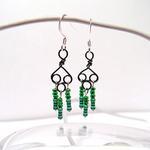 Green Wire Earrings w/Resistors