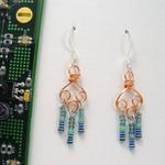 Copper Wire Earrings w/Resistors