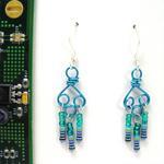 Electric Blue Wire Earrings w/Resistors