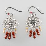 Cyber-Victorian Earrings with Red Chokes