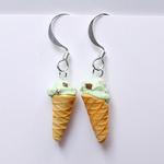 Chocolate Chip Mint Ice Cream Cone Earrings