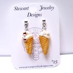 Vanilla Chocolate Chip Ice Cream Cone Earrings