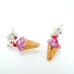 Raspberry Swirl Ice Cream Cone Earrings